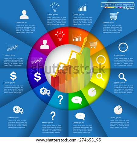Financial and Business Infographic/Diagram with 12 Options, Graph/Chart Going Up, Business Icon and Text Information on Blue Background. Workflow/Element Layout Design. Vector Illustration.