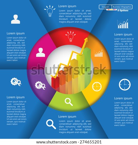 Financial and Business Infographic/Diagram with 6 Options, Graph/Chart Going Up, Business Icon and Text Information on Blue Background. Workflow/Element Layout Design. Vector Illustration.