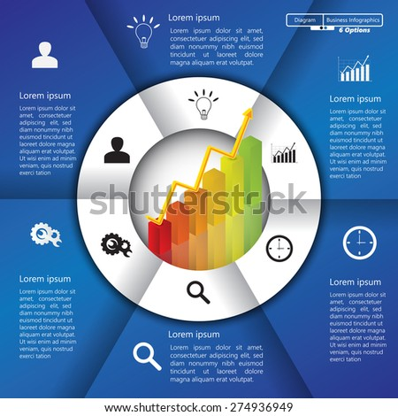 Financial and Business Infographic/Diagram with 6 Options, Graph/Chart Going Up, Business Icon and Text Information on Blue/White Background. Workflow/Element Layout Design. Vector Illustration.
