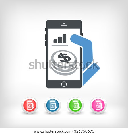 Financial application on smartphone - Dollars - stock vector