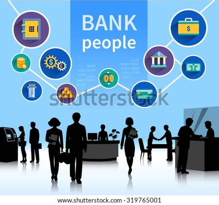 Financial bank institution dealing with money transactions loans and deposits symbols composition poster abstract flat vector illustration - stock vector