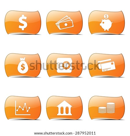 Financial Banking Orange Vector ButtonIcon Design Set