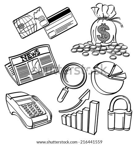 Financial & Business Icon Set - stock vector