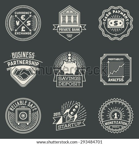 Financial Business Insignias Logotypes Template Set. Line Art Vector Elements.  - stock vector