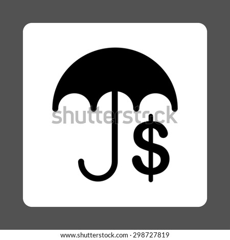 Financial Care icon from Commerce Buttons OverColor Set. Vector style is black and white colors, flat square rounded button, gray background.