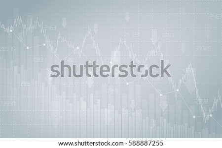financial chart with downtrend line graph, bar chart and stock numbers in stock market on gradient gray color background (vector)
