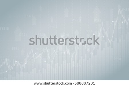 financial chart with line graph, bar chart and stock numbers in stock market on gradient gray color background (vector)