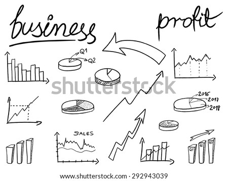 Financial charts doodle illustration - sketchy style bar charts, pie charts. Business objects. - stock vector