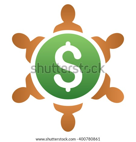 Financial Collaboration Round Table vector toolbar icon for software design. Style is a gradient icon symbol on a white background. - stock vector