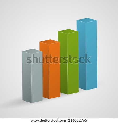 Financial colorful bar graph icon. Vector illustration. - stock vector