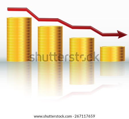Financial concept, declining graph - stock vector