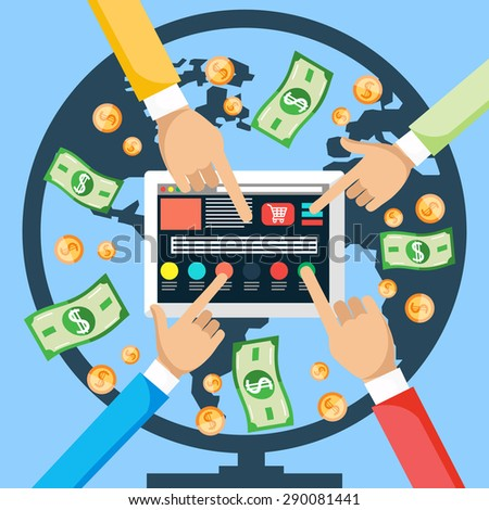 Financial concept. Make money from world internet with tablet. Hands pushing a button on the tablet , and the money is coming from around the world via the Internet. Pay per click, online store. - stock vector