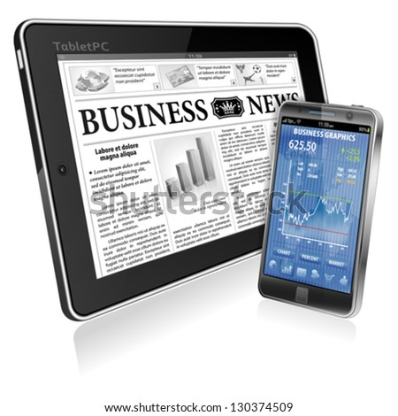 Financial Concept with Business Newspaper on screen Tablet PC and Smartphone with Stock Market Application, vector isolated on white background - stock vector