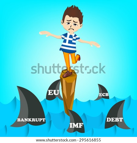 Financial Crisis in Greece, Greece man character on standing on cliff in risk of economy crisis in middle of the ocean and full with sharks surrounded - stock vector