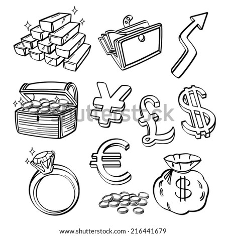 Financial & Currency Icon Set - stock vector