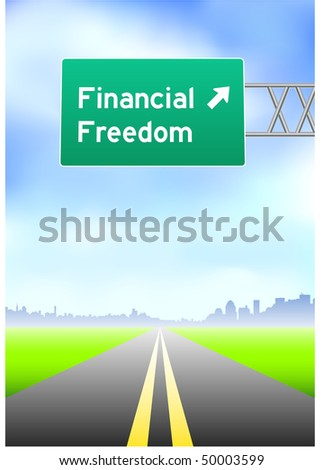 Financial Freedom Highway Sign Original Vector Illustration