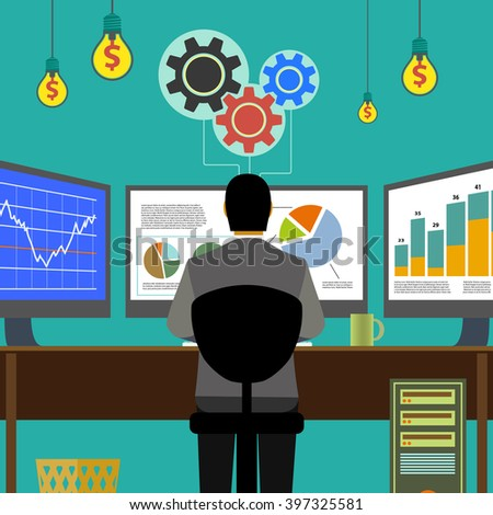 Financial graphs and charts. Monitor computer, work place broker. Stock Exchange. Make money. Stock vector illustration. - stock vector