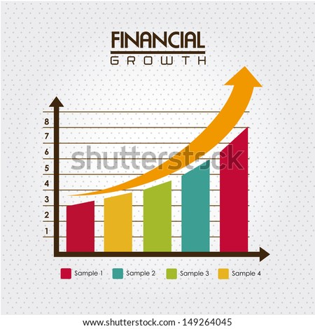 financial growth over dotted background vector illustration  - stock vector
