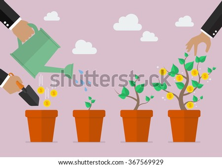 Financial growth process. Planting process business metaphor - stock vector