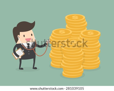 Financial health check. Businessman using stethoscope to check money health - stock vector