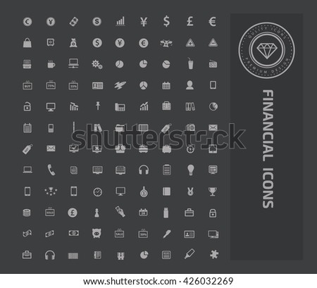 Financial icon set on clean background,vector - stock vector