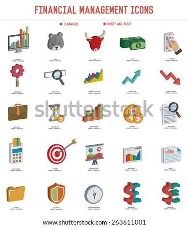 Financial icon set on white background,three dimension design,clean vector - stock vector