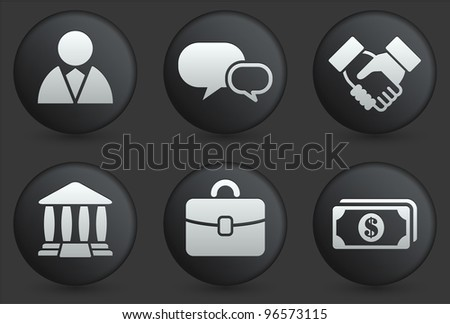 Financial Icons on Black Internet Button Collection Original Illustration - stock vector