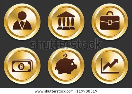 Financial Icons on Gold Button Collection Original Illustration - stock vector