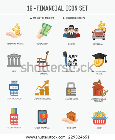 Financial icons on white background,clean vector - stock vector