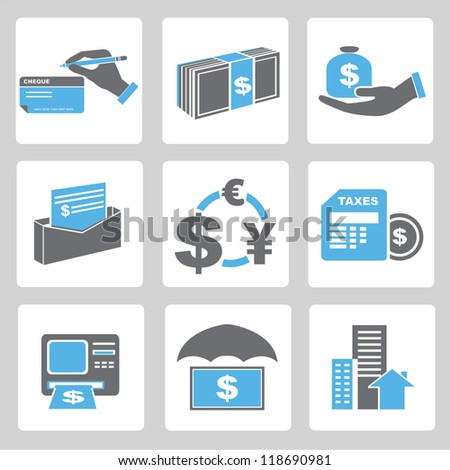 financial icons set, banking icons set - stock vector