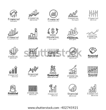 Financial Icons Set-Isolated On Gray Background-Vector Illustration,Graphic Design.Collection Of Color And Abstract Icons.Different Logotype Shape.Modern Concept Logo  - stock vector