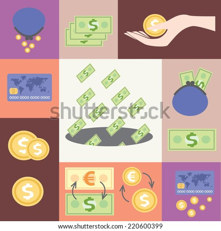 Financial icons, wages, low wages, high wages, currency exchange - stock vector