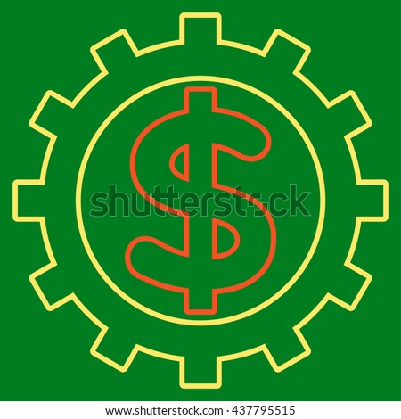Financial Industry vector icon. Style is linear bicolor flat icon symbol, orange and yellow colors, green background.