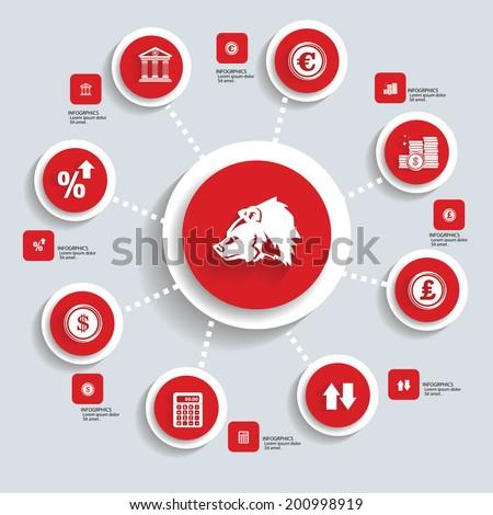 Financial info graphics design,Red version,vector - stock vector