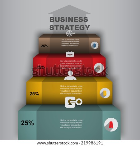 financial ladder business strategy, vector creative infographics elements - stock vector