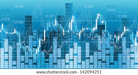 Financial market charts, quotes & analysis. Seamless border. - stock vector