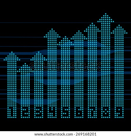 Financial or Statistic Diagram Chart from Blue Dots Arrows - stock vector