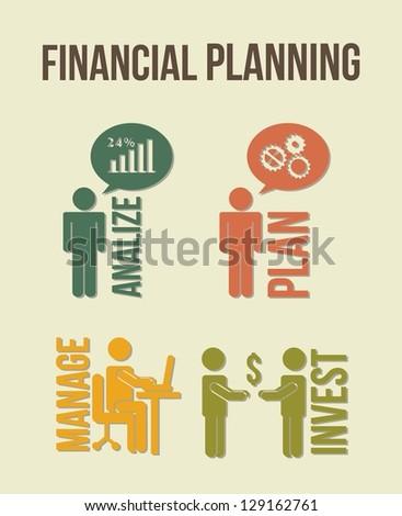 financial planning illustration over beige background. vector - stock vector
