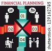 financial planning illustration over black background. vector - stock vector