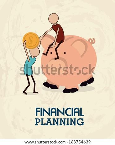 financial planning illustration over pink background. vector illustration - stock vector
