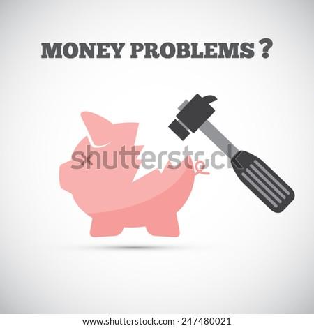 Financial problems - piggy bank - EPS10 vector - stock vector