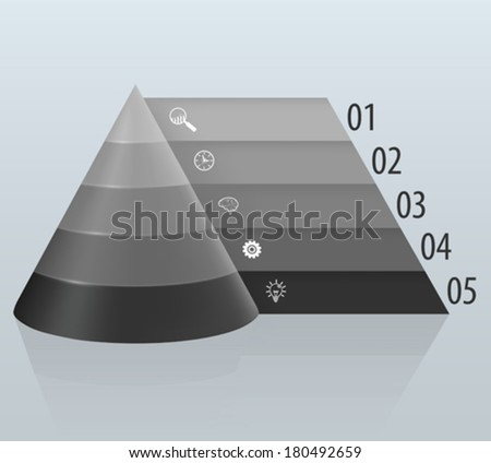 Financial pyramid with numbered tabbed - stock vector