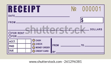 Financial receipt - Can be used for rent payments or any other type of payment. Vector illustration. - stock vector
