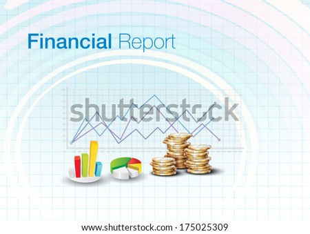 financial report, Graphs, charts Design Template - stock vector