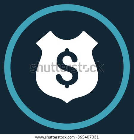 Financial Shield vector icon. Style is bicolor flat circled symbol, blue and white colors, rounded angles, dark blue background. - stock vector