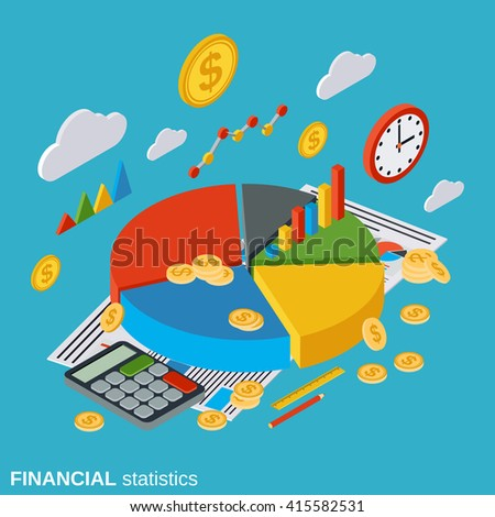 Financial statistics, analysis, market trends diagram, business report flat isometric vector concept illustration - stock vector