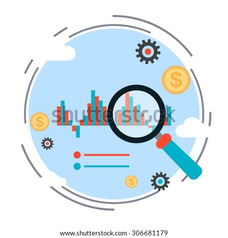 Financial statistics, market trends analysis, business chart flat design style vector concept illustration - stock vector