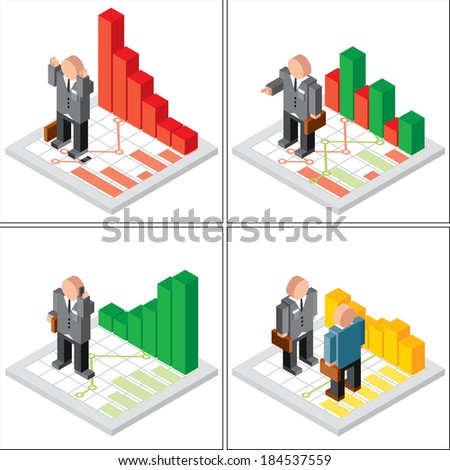 Financial Stock Market Icons. Businessman with Failure,Growth and Hold Graphs. Set of 3D Isometric Vector Illustration - stock vector