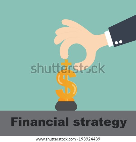 financial strategy concept -dollar bills on manipulated by businessman hand - stock vector
