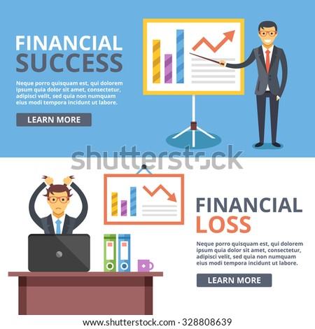 Financial success, financial loss flat illustration concepts set. Business situations. Flat design concepts for web banners, web sites, printed materials, infographics. Creative vector illustration - stock vector